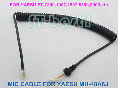 MICROPHONE EXTENSION CABLE 6 PIN RJ-12 MODULAR ~7 feet for  YAESU FT8800 FT8900