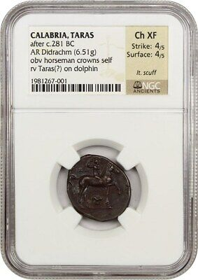 after 281 BC Taras AR Didrachm NGC Choice XF (Ancient Roman)