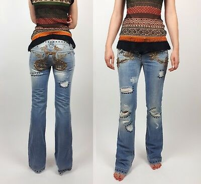 DOLCE GABBANA D&G 90s 00s embellished Ripped ow cut jeans IT40