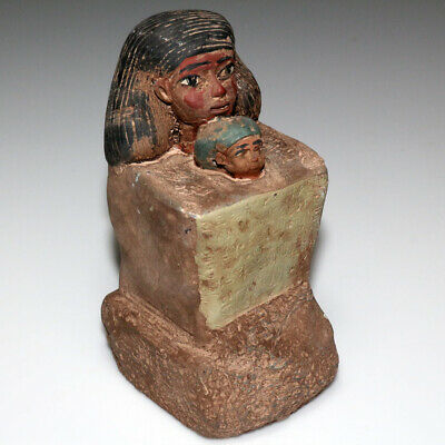 Huge Ancient Stone Egyptian Colored Statue Sculpture 841 Grams-Restored