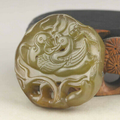 China old natural jade hand-carved double bird pendant