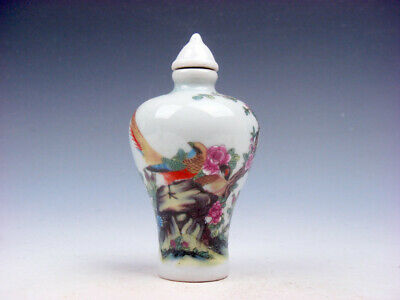 Famille-Rose Glazed Porcelain Snuff Bottle Peacock & Flower Blossoms #04032002