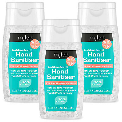 Mylee Antibacterial Hand Sanitiser 50ml Disinfectant Sanitising Gel 70% Alcohol
