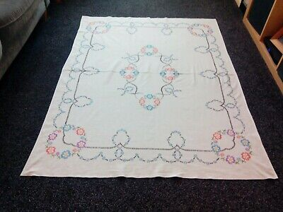 Beautiful Vintage Vintage Linen/Cotton Mix Hand Embroidered Tablecloth