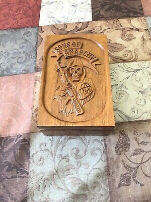 Hand Carved Wood SONS of ANARCHY CHAPEL EDITION Empty Cigar Box RARE Collectible
