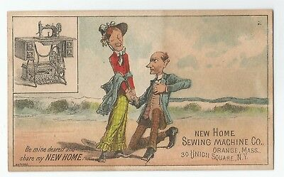 Antique New Home Sewing Machine Victorian Man Proposing on Beach Ad Trade Card