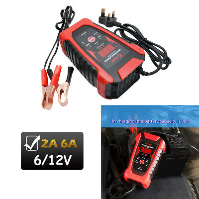 6V 12V Smart Battery Charger Automobile Motorcycle LCD Display Charger UK Plug