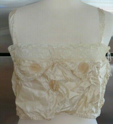 Antique Edwardian Victorian Silk Satin Corset Cover Camisole Underwear Cropped S