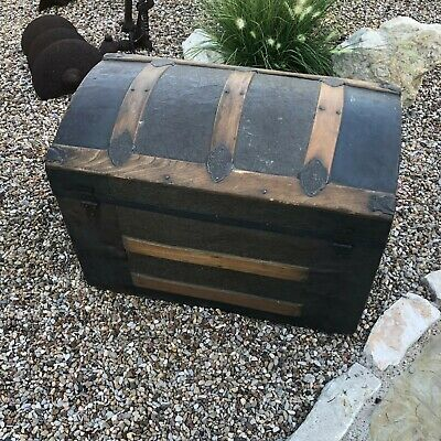 Antique Victorian Ladies Stagecoach / Steamer Trunk ~ Arched Top RARE small Size