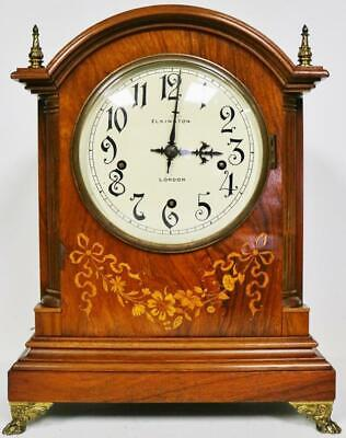 Beautiful Antique Rosewood Marquetry Inlaid 5 Gong Musical Chime Bracket Clock
