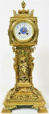 Rare Quality Antique French Cast Bronze Ormolu Big Ben Tower Mantle Clock