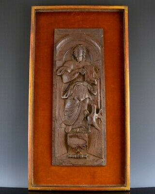 FINE 17/18th CENTURY CARVED SOLID OAK FIGURAL PLAQUE FROM CHURCH OR CUPBOARD #3