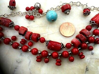 Vintage Chinese Coral And Turquoise 3 Strings Bracelet