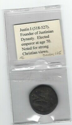 Ancient Byzantine Bronze Coin, Justin I