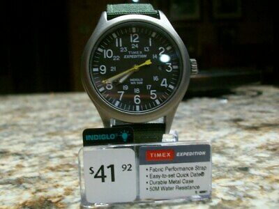 Timex T49961 Expedition Scout Green Fabric Watch, Date, Indiglo. BRAND NEW
