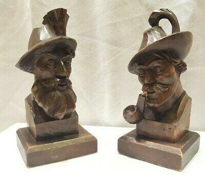 Hans and Adolf Heinzeller OBERAMMERGAU PAIR of small carved busts/bookends