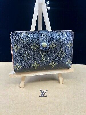 LV485 Women's Louis Vuitton Brown Monogram Canvas Kisslock Bifold Wallet