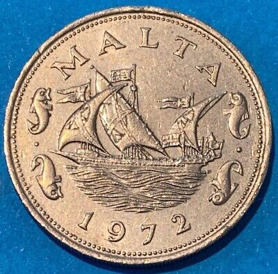 1972 Malta 10 Cents Barge of the Grand Master Coin Beautiful