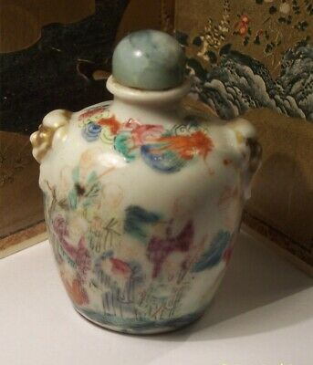 Antique Chinese Porcelain China Famille Rose Luohan Snuff Bottle 19Th Century