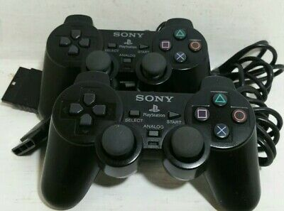 2 Official Original Sony Dual Shock 2 Wired Playstation PS2 Controller Pad Black