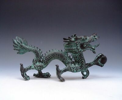 Bronze Crafted Sculpture Furious Walking Dragon Holding Pearl Ball #09021902
