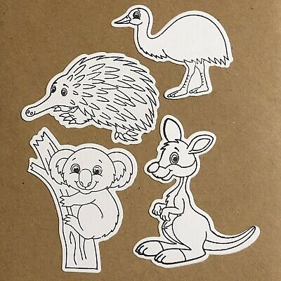 4 Australian Theme DIY Colour-In Die Cuts - Scrapbooking, Card Making, Craft