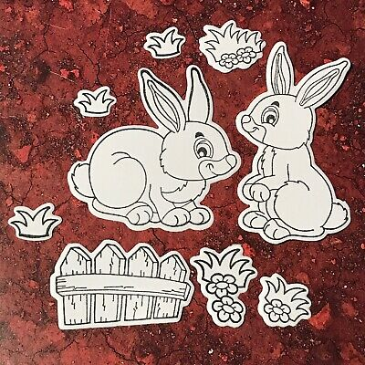 9 Piece Easter Rabbit Theme DIY Colour-In Die Cuts - Scrapbook Card Making Craft