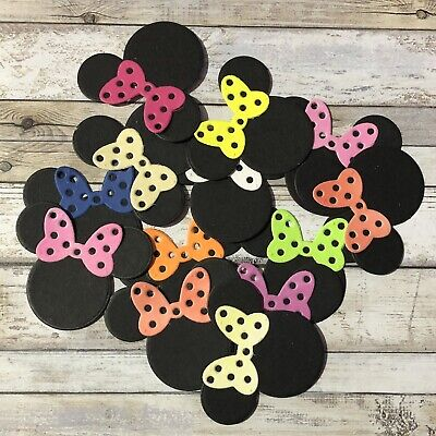 Minnie Mouse Assorted Colour Bow Die Cuts 12pk Card Making Scrapbook Craft Baby