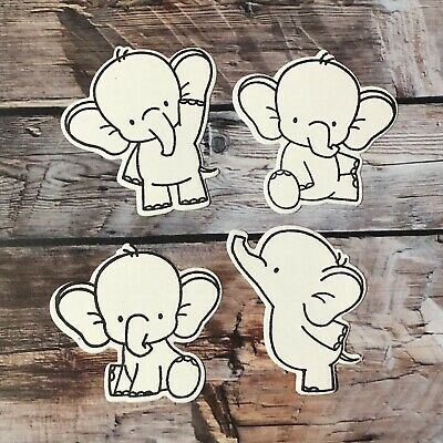 4 Elephant Theme DIY Colour-In Die Cuts - Scrapbooking, Card Making, Craft
