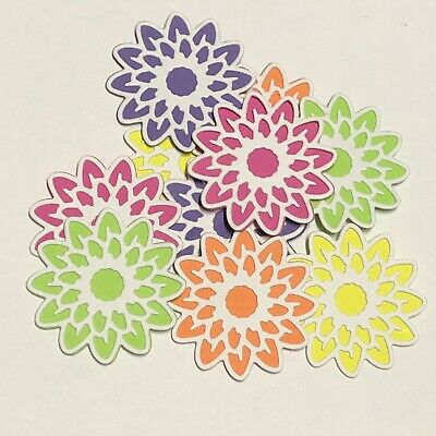 10 Flower Die Cuts 41mm - Scrapbooking, Card Making, Craft - Neon Colours