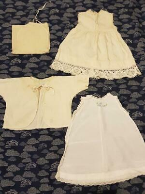 Vintage 50s/60s Baby Clothes: 2 dresses 1 jacket 1 nappy cover Handmade Preowned