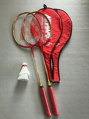NEW 2 x PLAYER BADMINTON SET WITH ASHAWAY RACKETS AND ADIDAS SHUTTLES GOLD / RED