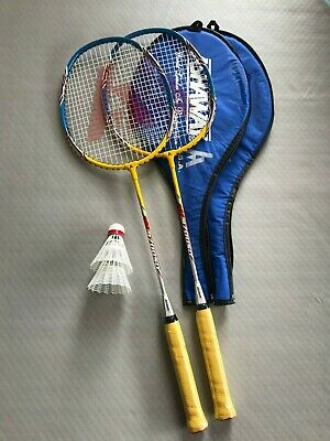 NEW 2 x PLAYER BADMINTON SET WITH ASHAWAY RACKETS AND ADIDAS SHUTTLES YELLOW