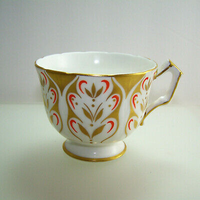 Antique Aynsley English Bone China Gold White & Orange Tea Cup ONLY  No Saucer