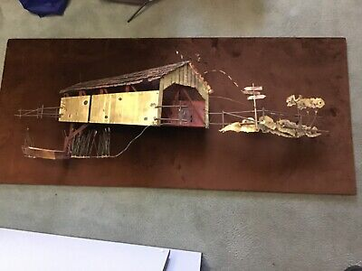 Curtis Jere wall art barn and boat signed dated 1972
