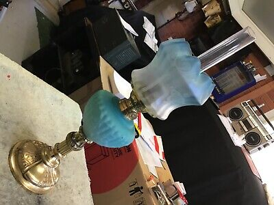 Vintage oil lamp brass and glass satin blue piano lamp