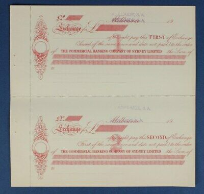 "Australia: 1900s Commercial Banking Co Sydney ""RARE ADELAIDE 1ST & 2ND EXCHANGE"""