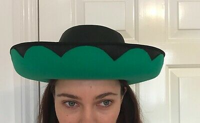 Mitzi Lorenze Wedding hat Fine straw Black with Green felt Brimmed Hat