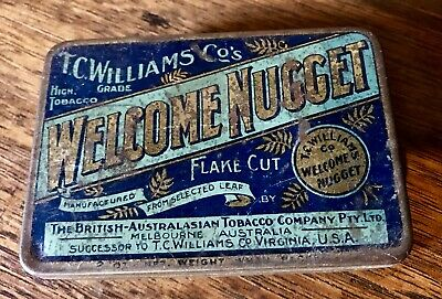 Antique 1880s T.C Williams Welcome Nugget Tobacco Tin / Vintage Gold Goldfields