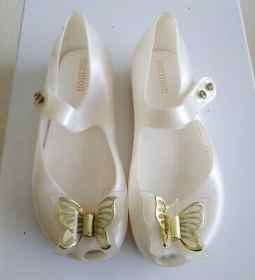 MEMON Girls White Butterfly Jelly Shoes - Size 27