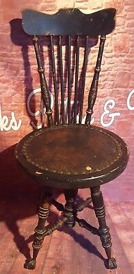 Vintage Antique Victorian Adjustable High Back Piano Stool Swivel Chair Seat