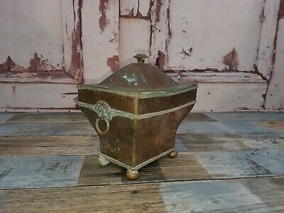 Vintage Antique Arts Crafts C. 1900s Copper Tea Caddy Trinket Box