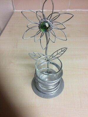 Metal Flower Candle Holder 7 Inch High