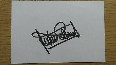 Jackie Stewart signed white card, Formula One Racing Driver (autograph)