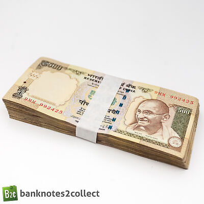 INDIA: 100 x 500 Indian Rupee Banknotes. Full Bundle.