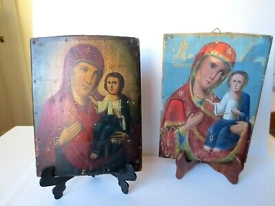 Antique 19th C. Russian Orthodox Hand Painted Wooden 2 Icons