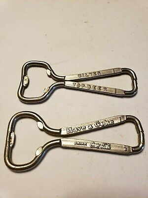 Vintage Bottle Openers Advertising Coca Cola Soda and Silver Top Beer