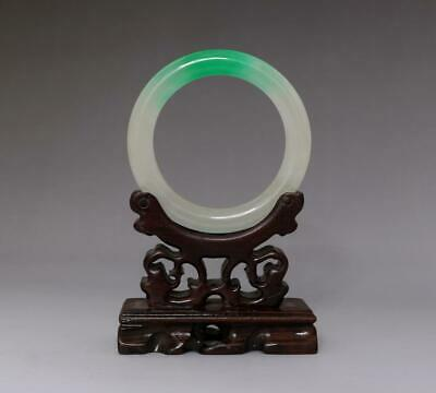 Perfect Chinese Carved Natural Jadeite Bracelet Bangle 6Cm (E152)