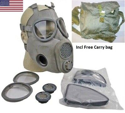 Full Face NBC Gas Mask Respirator Military Czech M10 w/ Filters New NOS