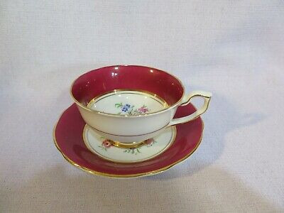Vintage Clarence Bone China Cabinet Cup & Saucer Duo Pretty Floral Design  ~#